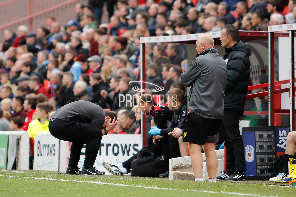 Burton Albion manager Nigel Clough reacts (1-1) during the EFL Sky Bet Championship match between Barnsley and Burton Albion at Oakwell, Barnsley, England on 29 April 2017. Photo by Richard Holmes.