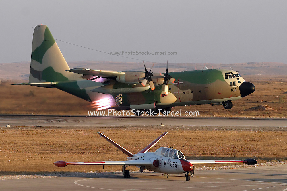 5 Israeli Air force Hercules 100 transport plane iat take off, with jet thrust to help with lift off
