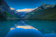 Reflection of the Canadian Rocky Mountains in Lake Louise<br /> Banff National Park<br /> Alberta<br /> Canada