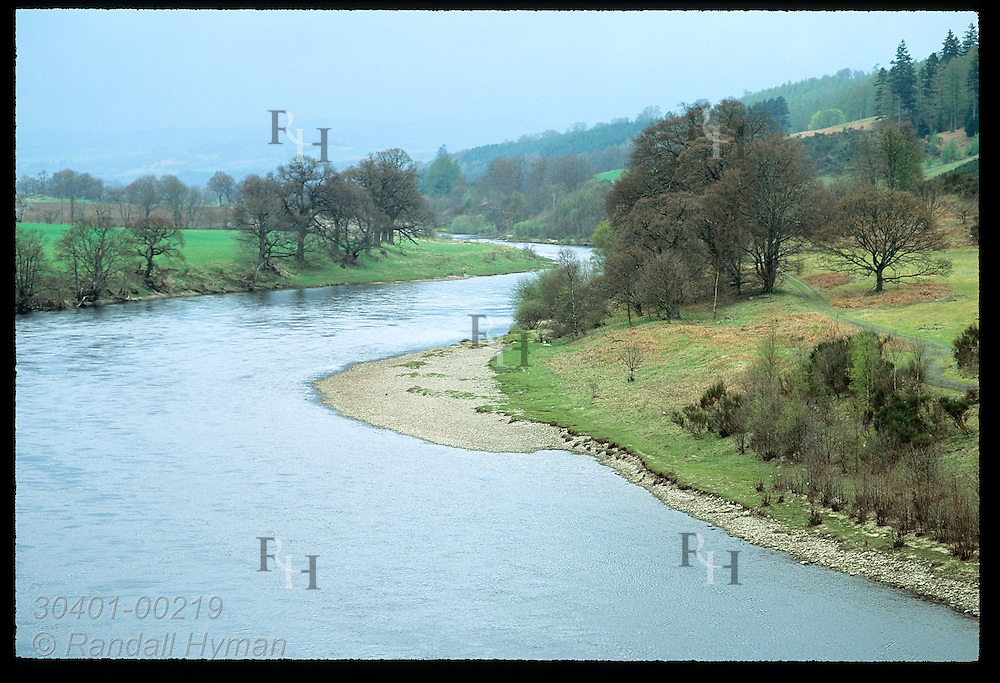 Blush of green tints Tay River Glen in April as waters rush from the Perthsire Highlands. Scotland