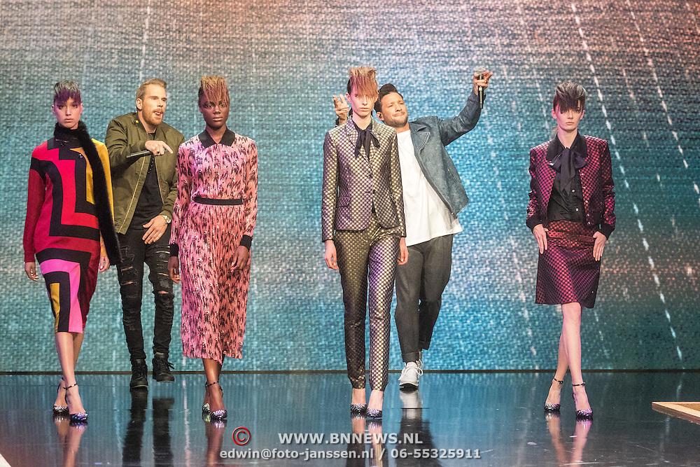 NLD/Amsterdam/20161025 - finale Holland Next Top model 2016, optreden Kraantje Pappie, winnares Akke Marije Marinus, presentatrice, Anouk Smulders - Voorveld, model Colette Kanza, model Emma Hagers en model Noor van Velzen