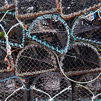 Europe, Great Britain, Wales. Lobster traps in Aberdovey Harbor.