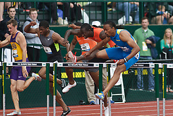 2012 USA Track & Field Olympic Trials: mens 110 hurdles, Aries Merritt, USA and Olympic champion and world record setter,