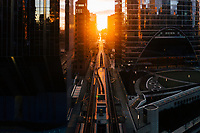 Aerial view of Chicago henge sunset during coronavirus pandemic, with empty streets, United States.