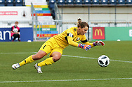 Natalia Voskobovich (#1) of Belarus dives on top of a low shot during the FIFA Women's World Cup UEFA Qualifier match between Scotland Women and Belarus Women at Falkirk Stadium, Falkirk, Scotland on 7 June 2018. Picture by Craig Doyle.