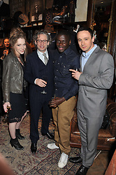 Left to right, CHARLOTTE SPENCER, DEXTER FLETCHER, DANIEL KALUUYA and JASON MADER at a reception hosted by Ralph Lauren Double RL and Dexter Fletcher before a private screening of Wild Bill benefitting FilmAid held at RRL 16 Mount Street, London on 26th March 2012.