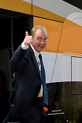 © Licensed to London News Pictures. 01/06/2017. London, UK.  Liberal Democrat Leader Tim Farron arrives off the battle bus at the nearby Shiraz Mirza Community Centre in Norbiton to meet local voters.  Photo credit : Stephen Chung/LNP