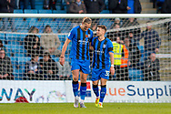 Gillingham FC forward Tom Eaves (9) scores a goal (3-0) and celebrates with team mate Gillingham FC midfielder Mark Byrne (33) during the EFL Sky Bet League 1 match between Gillingham and Fleetwood Town at the MEMS Priestfield Stadium, Gillingham, England on 3 November 2018.<br /> Photo Martin Cole