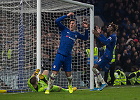 Football - 2019 / 2020 Premier League - Chelsea vs. Arsenal<br /> <br /> Ross Barkley (Chelsea FC) and Tammy Abraham (Chelsea FC) react after Bernd Leno (Arsenal FC) saves the backward header from Ross Barkley (Chelsea FC) at Stamford Bridge <br /> <br /> COLORSPORT/DANIEL BEARHAM