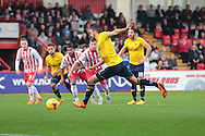 Oxford United midfielder Liam Sercombe takes a penalty during the Sky Bet League 2 match between Stevenage and Oxford United at the Lamex Stadium, Stevenage, England on 31 October 2015. Photo by Jemma Phillips.