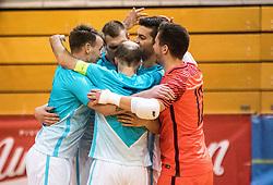Slovenian team celebrates during friendly futsal match between National teams of Slovenia and France on February 6, 2019 in Bonifika, Koper / Capodistra, Slovenia. Photo by Matic Ritonja / Sportida