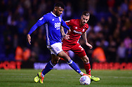 Isaac Cassell of Birmingham city (l)  in action with Joe Bennett of Cardiff City  .EFL Skybet championship match, Birmingham city v Cardiff city at St.Andrew's stadium in Birmingham, the Midlands on Friday 13th October 2017.<br /> pic by Bradley Collyer, Andrew Orchard sports photography.