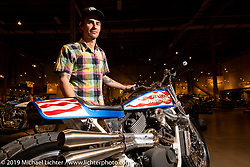 Colin Cornberg of Number 8 Wire Motorcycles in Philipsburg, Montana with his Evel XG, a supercharged Harley-Davidson Street 750 Evel Knievel tribute at the Handbuilt Show. Austin, Texas USA. Saturday, April 13, 2019. Photography ©2019 Michael Lichter.
