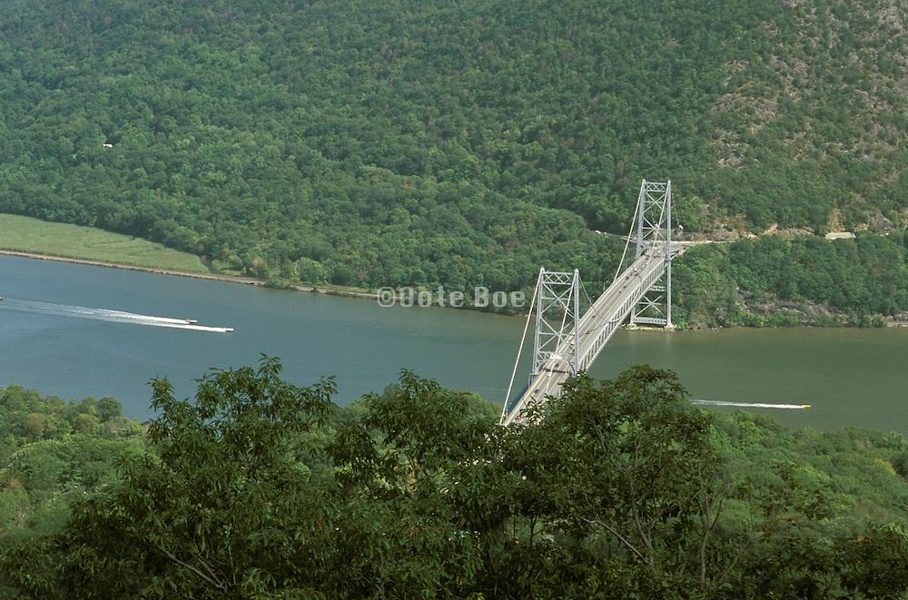 overhead view of Bear Mountain Bridge