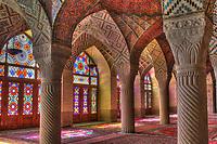 The winter prayer hall of the Nasir-ol-Molk Mosque, Shiraz, Fars, Iran