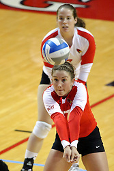 05 November 2010: Jenny Menendez shovels out a dig during an NCAA volleyball match between the Southern Illinois Salukis and the Illinois State Redbirds at Redbird Arena in Normal Illinois.
