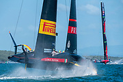 Emirates Team New Zealand and Luna Rossa Prada Pirelli Team entering the start box for race ten. Wednesday the 17th of March 2021. Copyright photo: Chris Cameron