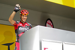 01.07.2012, Luettich, BEL, Tour de France, 1. Etappe Luettich-Seraing, im Bild Lokalmatador GILBERT Philippe (BMC Racing Team) winkt seinen Fans beim Einschreiben zu // during the Tour de France, Stage 1, Liege-Seraing, Belgium on 2012/07/01. EXPA Pictures © 2012, PhotoCredit: EXPA/ Eibner/ Ben Majerus..***** ATTENTION - OUT OF GER *****