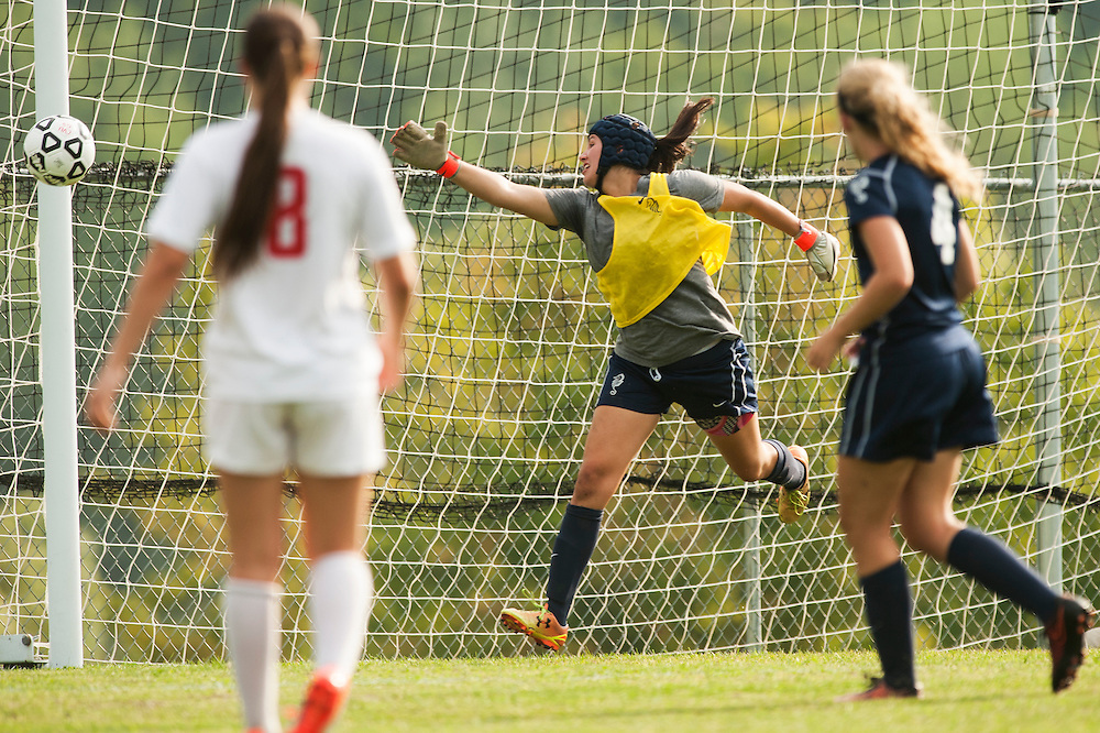 Burlington's Norah Mitchell attempts to make a save as the ball hits the goal post during the girls varsity soccer game between the Burlington Seahorses and the Champlain Valley Union Redhawks at CVU High School on Tuesday afternoon September 8, 2015 in Hinesburg. (BRIAN JENKINS/for the FREE PRESS)