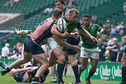Twickenham, Lancashire, 27th May 2018. Bill Beaumont Division 1 Final, Herts, Dan  WATT, the ball, pops out of grip from the tackle by Andrew HUGHES, during the  Lancashire vs Hertfordshire,    RFU. Stadium, Twickenham. UK.  <br /> <br /> © Peter Spurrier/Alamy Live News