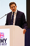 London, United Kingdom - 12 September 2019<br /> Johnny Mercer MP, Parliamentary Under-Secretary of State for Defence People and Veterans for the UK Government gives a keynote address speech and answers questions from the audience at DSEI 2019 security, defence and arms fair at ExCeL London exhibition centre.<br /> (photo by: EQUINOXFEATURES.COM)<br /> Picture Data:<br /> Photographer: Equinox Features<br /> Copyright: ©2019 Equinox Licensing Ltd. +443700 780000<br /> Contact: Equinox Features<br /> Date Taken: 20190912<br /> Time Taken: 10035923<br /> www.newspics.com