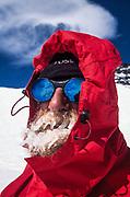 Kiwi climber Eric Saggers with iced up beard at -30 deg C near summit of Denali (Mt McKinley 6194 m), Alaska