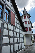 Stein am Rhein has a well-preserved medieval center with half-timbered houses in Schaffhausen Canton, Switzerland, Europe.