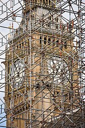 The Elizabeth Tower, which houses Big Ben, is seen through scaffolding around the Palace of Westminster, London. The tower is undergoing a three-year restoration project to conserve the structure and famous clock. Picture date: Thursday August 3rd, 2017. Photo credit should read: Matt Crossick/ EMPICS Entertainment.
