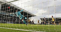 Livingston Mark McNulty scoring their goal past Falkirk's keeper Michael McGovern.<br /> Falkirk 1 v 1 Livingston, Scottish Championship game today at The Falkirk Stadium.<br /> © Michael Schofield.