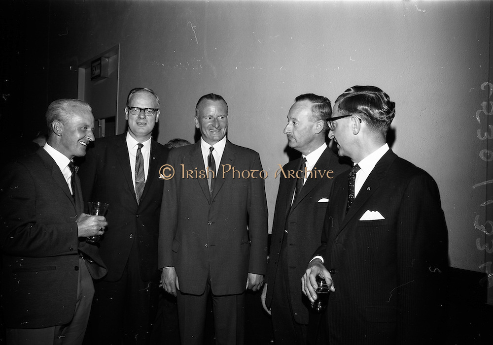 """23/06/1965<br /> 06/23/1965<br /> 23 June 1965<br /> I.C.I. (Imperial Chemical Industries) """"Vymura""""  luxury wall covering (wallpaper?) demonstration at the Intercontinental Hotel, Dublin. Pictured at the event were (l-r) Mr. D. Brophy, Manager (Paints and Wallpapers) T. and C. Martin Ltd.; Mr. A.B. Pattison, Sales Department I.C.I. (Ireland) Ltd.; Mr. D.A. Roy, Director Brooks Thomas and Co. Ltd.; Mr. A.F.S. Stankley, Brooks Thomas and Mr. D.W. Moore, Paint Division I.C.I."""