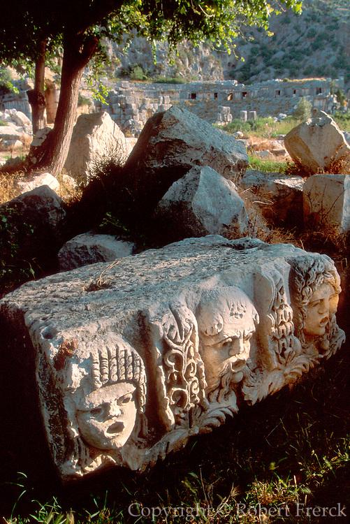 TURKEY, GREEK AND ROMAN Myra; masks from Roman Theatre