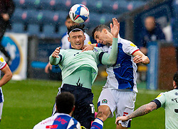BLACKBURN, ENGLAND - Saturday, October 3, 2020: Cardiff City's Kieffer Moore (L) challenges for a header with Blackburn Rovers' Daniel Ayala during the Football League Championship match between Blackburn Rovers FC and Cardiff City FC at Ewood Park. The game ended in a 0-0 draw. (Pic by David Rawcliffe/Propaganda)