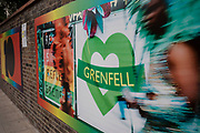 Grenfell Tower is remembered in preparation for the upcoming Notting Hill Carnival on August 22nd 2019 in London, England, United Kingdom. An expected 1 million revellers are expected to visit Carnival on the weekend, so many owners have decided to protect their properties as a precaution.