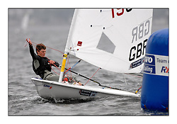 The second day of racing at the World Laser Radial Youth Championships, Largs, Scotland...John Currie GBR 190967..317 Youth Sailors from 42 different nations compete in the World and European Laser Radial Youth Champiponship from the 17-25 July 2010...The Laser Radial World Championships take place every year. This is the first time they have been held in Scotland and are part of the initiaitve to bring key world class events to Britain in the lead up to the 2012 Olympic Games. ..The Laser is the world's most popular singlehanded sailing dinghy and is sailed and raced worldwide. ..Further media information from .laserworlds@gmail.com.event press officer mobile +44 7866 571932 and +44 1475 675129 .