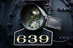 13 June 2009: Bloomington Illinois, a steam locomotive on display at Miller Park