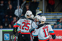 KELOWNA, BC - MARCH 6: Trevor Wong #8, Tyson Feist #25, Devin Steffler #4 and Pavel Novak #11 of the Kelowna Rockets celebrate a second period goal against the Seattle Thunderbirds at Prospera Place on March 6, 2020 in Kelowna, Canada. (Photo by Marissa Baecker/Shoot the Breeze)