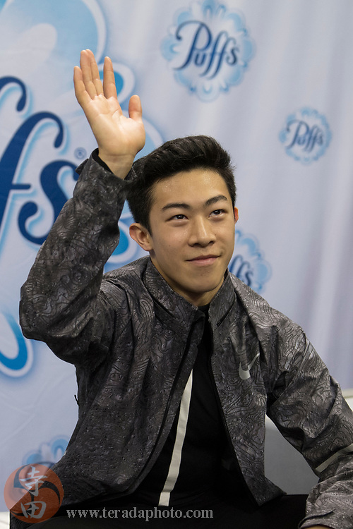 January 4, 2018; San Jose, CA, USA; Nathan Chen in the kiss and cry after skating in the mens short program during the 2018 U.S. Figure Skating Championships at SAP Center.