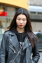 Model Bae Yoon Young steps out the Topshop Unique Autumn / Winter 2017 London Fashion Week show at Tate Modern, London