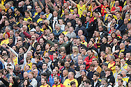 Watford supporters and fans during the Sky Bet Championship match between Brighton and Hove Albion and Watford at the American Express Community Stadium, Brighton and Hove, England on 25 April 2015.