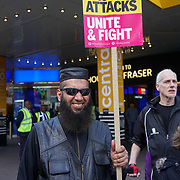 London, UK. 2nd April, 2017. Imam Suliman Gani speaks at the demonstration against a horrific attack which took place last night 1st April 2017 which attacks by 8 home growth terror gangs left a 17 year old asylum seeker fighting for his life in Croydon. Protestors give a simple message community  should live in fear in out society, London,UK. by See Li