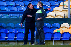 Morecambe manager Derek Adams protests against a decision with the fourth official - Mandatory by-line: Ryan Crockett/JMP - 27/02/2021 - FOOTBALL - One Call Stadium - Mansfield, England - Mansfield Town v Morecambe - Sky Bet League Two