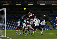 Football - 2020 / 2021 Premier League - Burnley vs. Fulham<br /> <br /> Kevin Long of Burnley wins a header from a Burnley corner but sees it go wide, at Turf Moor.<br /> <br /> <br /> COLORSPORT/ALAN MARTIN