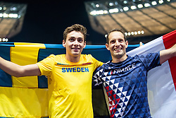 August 12, 2018 - Berlin, GERMANY - 180812 Armand Duplantis of Sweden and  Renaud Lavillenie of France celebrates after the men´s pole vault final during the European Athletics Championships on August 12, 2018 in Berlin..Photo: Vegard Wivestad Grøtt / BILDBYRÃ…N / kod VG / 170206 (Credit Image: © Vegard Wivestad GrØTt/Bildbyran via ZUMA Press)