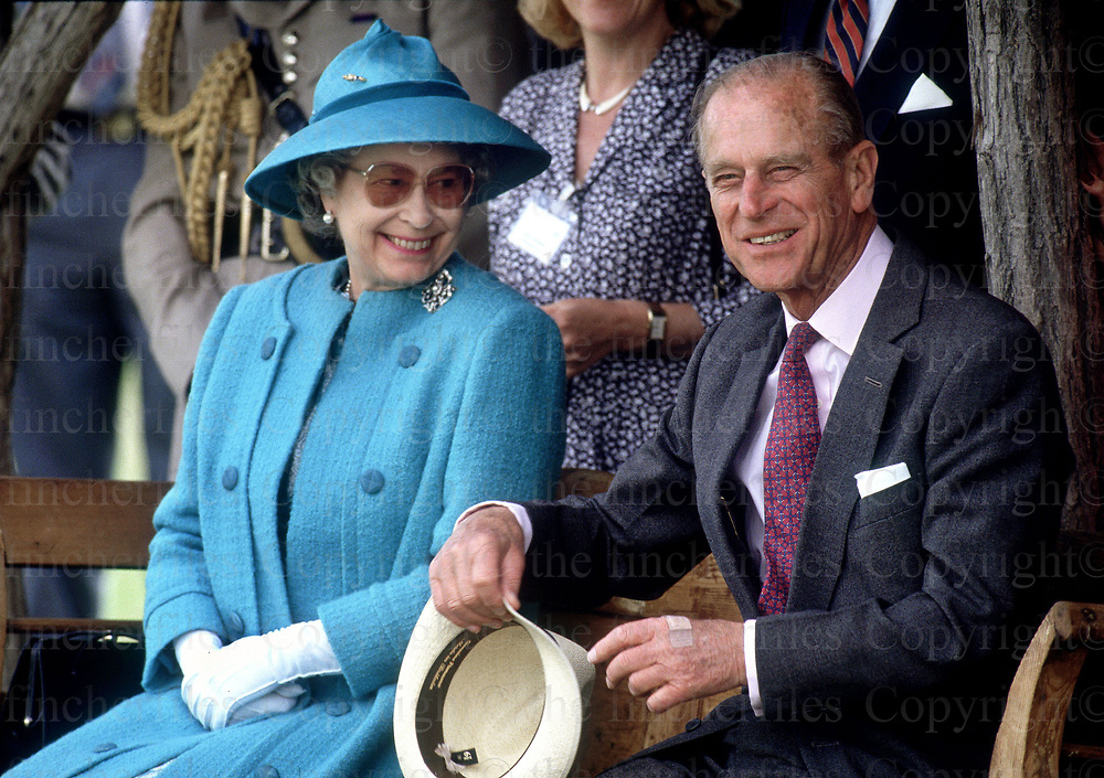 Queen Elizabeth and husband Prince Philip seen during a visit to Bugacz Plains, Hungary in May 1993. Photo by Terry Fincher