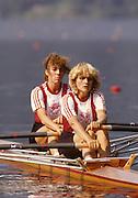 Bled, Slovenia, YUGOSLAVIA.  DEN W2X. Bow .Marlene NIELSEN stroke Ulla HVID - FOGH. 1989 World Rowing Championships, Lake Bled. [Mandatory Credit. Peter Spurrier/Intersport Images]