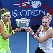 2016 U.S. Open - Day 14  Bethanie Mattek-Sands, (right), of the United States and Lucie Safarova of the Czech Republic with the trophy after winning the Women's Doubles Final against Caroline Garcia and Kristina Mladenovic of France on Arthur Ashe Stadium on day fourteen of the 2016 US Open Tennis Tournament at the USTA Billie Jean King National Tennis Center on September 11, 2016 in Flushing, Queens, New York City.  (Photo by Tim Clayton/Corbis via Getty Images)