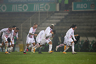 Milan players celebrate their victory after the penalty shoot-out during the Europa League match between Rio Ave FC and AC Milan at Estadio dos Arcos, Vila do Conde, Portugal on 1 October 2020.