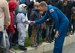 British astronaut Tim Peake meets members of the public during a visit to the Glasgow Science Centre, where he gave an insight into his mission aboard the International Space Station to an audience in Glasgow, including how he coped with drinking recycled urine.