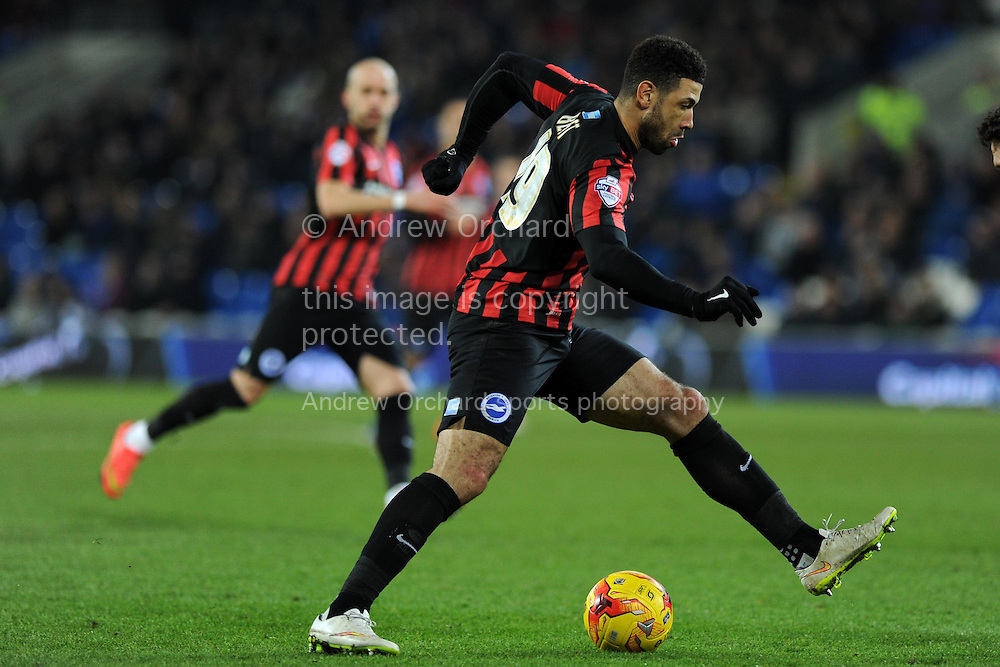 Leon Best of Brighton in action. Skybet football league championship match, Cardiff city v Brighton & Hove Albion at the Cardiff city Stadium in Cardiff, South Wales on Tuesday 10th Feb 2015.<br /> pic by Andrew Orchard, Andrew Orchard sports photography.