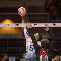 Hawks middle hitter Jacqualine Day (5), attacks with a powerful spike at the net for Laguna Acoma past Mackenzie Dunnahoo (13). Hatch Valley won 3-0 at the Santa Ana Star Center in Rio Rancho on Friday.